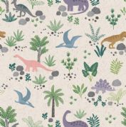Lewis & Irene - Kimmeridge Bay - 6216 - Dinosaur Scene on Cream- A303.1 - Cotton Fabric